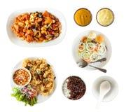 Draufsichtsatz thailändisches Lebensmittel Lizenzfreies Stockbild