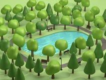 Draufsichtteich in den grünen Parks und in vielen Bäumen niedriges Poly-3d Karikaturart übertragen stock abbildung