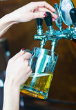 Draught beer. Glass being filled with draft beer by barman Stock Photo