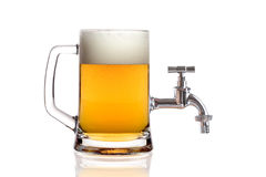 Draught beer. Isolated on white background Stock Photos