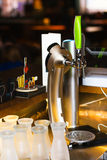 Draught Beer in a Bar. Bar equipment royalty free stock photography