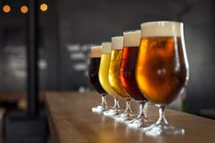 Draught beer in glasses Stock Photo