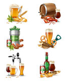 Draught Beer Illustrations Set. Tap beer in nonic glass tubs compositions set with brewers cask raw malt snacks and fish vector illustration Royalty Free Stock Image