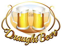 A draught beer label with two mugs of beer Stock Photography
