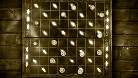 Draughts (checkers) game timelapse video with bricked background stock video