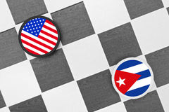 Draughts (Checkers) - USA vs Cuba. Draughts (Checkers) as metaphor of relation between USA and Cuba stock photo