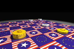 Draughts: eu vs. us. A draughts game with euro and dollar chips, board with european and american flags; euro winning Royalty Free Stock Photo