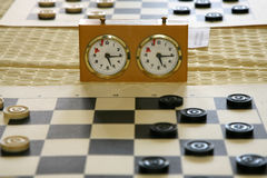 Draughts game. Competition of draughts thought and challenge Royalty Free Stock Photography