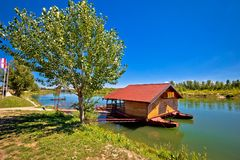 Drava river floating wooden cabin Stock Image