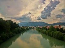 Drava river in Villach Stock Photos