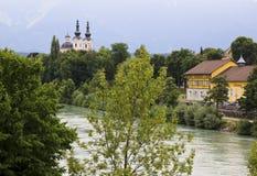 Drava river in Villach, Carinthia, Austria Stock Image