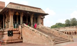 Dravidian styled beautiful ornamental  front hall of the ancient  Brihadisvara Temple in Thanjavur, india. Ancient temple-UNESCO World Heritage centre known as Royalty Free Stock Photo
