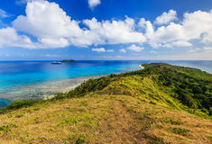 Dravuni Island, Fiji. Panoramic view of the island in the South Pacific ocean Royalty Free Stock Photography