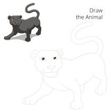 Draw animal panther educational game Royalty Free Stock Photography