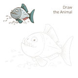 Draw the animal piranha educational game vector Stock Image