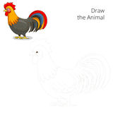 Draw the animal rooster educational game Royalty Free Stock Photos