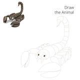 Draw animal scorpion educational game Stock Photo