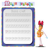 Draw a bass clef. Royalty Free Stock Images