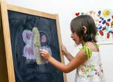 Draw on blackboard Stock Image