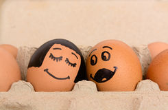 Draw bride and groom eggs Stock Photo