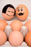 Draw bride and groom eggs Royalty Free Stock Image