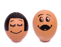 Draw bride and groom eggs Royalty Free Stock Photography