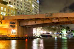 Draw bridge in downtown Ft Lauderdale, Florida, USA. Night view of draw bridge Andrews Avenue over New River in downtown Fort Lauderdale, Florida, USA Royalty Free Stock Photography