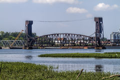Draw Bridge Over Tennesse River Decatur Alabama. This is a draw bridge over the Tennessee River in Decatur Alabama USA royalty free stock photo