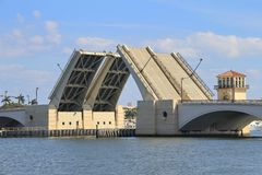 Draw Bridge in West Palm Beach. A draw bridge with in the up position in West Palm beach Florida Stock Images