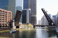 Draw bridges of Chicago. Draw bridges in downtown Chicago Stock Photos