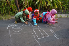 Draw with chalk Stock Image
