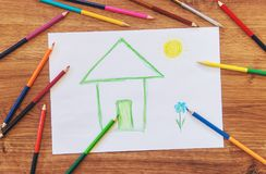 Draw child house family. Selective focus stock photography