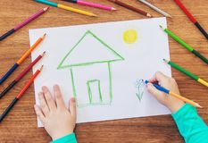 Draw child house family. Selective focus stock photo