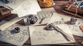 Draw diagrams of mechanical Stock Photo