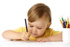 draw för barnfärgcrayons royaltyfri bild