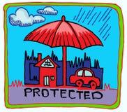 Draw för försäkringsymbolhand Arkivbilder