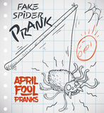Draw of Fake Spider Prank Ready for April Fools` Day, Vector Illustration. Hand drawn doodle of fake spider prank for a funny April Fools` Day over a notebook Royalty Free Stock Photography