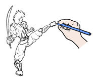 Draw fighter. Creative design of draw fighter Stock Image