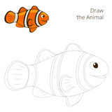 Draw the fish animal clownfish educational game Stock Photography