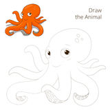 Draw the fish animal octopus educational game Stock Images