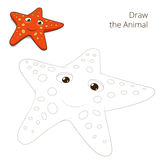 Draw the fish animal starfish educational game Stock Image