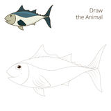 Draw the fish tunny educational game vector Royalty Free Stock Photos