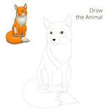 Draw the forest animal fox cartoon Stock Photography