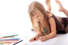 Draw girl Royalty Free Stock Photography