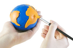 Draw globe Stock Image