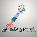 Draw  graphic dessin word BUSINESS. Pencil lightbulb 3d icons draw  graphic dessin word BUSINESS FINANCE as concept Royalty Free Stock Images