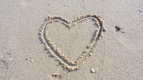 Draw the heart. On the sand beach Royalty Free Stock Image