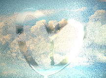 Draw heart on wet glass with cloud behind Stock Photos