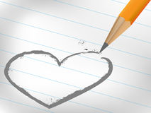 Draw heart on white paper Royalty Free Stock Photography