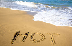 Draw hot on beach of summer Stock Images